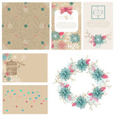 Floral cards collection for Valentine's day design — Vetor de Stock
