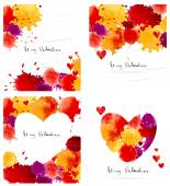 Watercolor colorful blot and heart frame collection — Stockvector