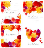Watercolor colorful blot and heart frame collection — Cтоковый вектор
