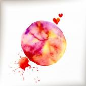 Watercolor colorful blot and heart — Stock Vector