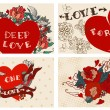 Collection of cards with flowers for Valentine design — Διανυσματικό Αρχείο #63505247