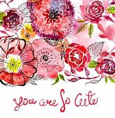 Watercolor flower card  — Stock Photo