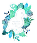 Easter watercolor natural illustration with duckling sticker — Stock Vector