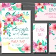 Beautiful set of invitation cards with watercolor flowers elemen — Stock Vector #67019351