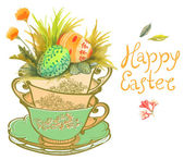 Easter card with watercolor flowers and eggs — Stock Vector