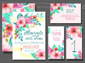 Beautiful set of invitation cards with watercolor flowers elemen — Stock Vector