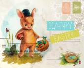 Watercolor vintage style Easter card — Stock Vector