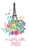 Eiffel tower with watercolor flowers — Stock Vector