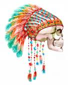 Indian tribal  hat and skull — Stock Photo