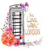 London phone booth with watercolor flowers — Stock Vector