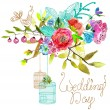 Watercolor Floral background with bird cages for beautiful desig — Stock Vector #77199765