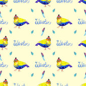 Watercolor seamless background with bird — Stock Photo