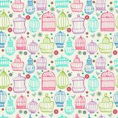 Birdcages pattern. Colorful doodle illustration. — Stock Photo