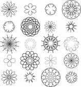 Stencils flowers — Vector de stock