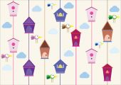 Birds with houses — Stock Vector