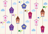 Birds with houses — Stok Vektör
