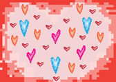 Hearts love Valentine's Day pixels — Stockvector
