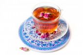 Tea with roses — Stock Photo