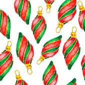 Watercolor Christmas and new year decorations. — Stockfoto