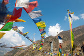 Colorful flags on a Annapurna Circuit — Photo