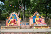 Buddha statue in Swayambhunath religious complex — Stock Photo