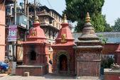 Three small stupas on a Durbar square — Stock Photo