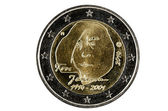 Obverse 2 Euro coins with the image of the well-known Finnish au — Stock Photo