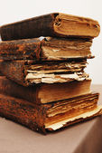 Stack of old tattered books — Stock Photo
