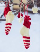 Santa Claus Christmas boot for gifts outside — Stock Photo