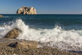 Sea with waves and foam rocks landscape  — Stockfoto
