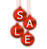 Christmas glassy balls with lettering sale — Stok Vektör