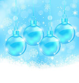 Winter snowflakes background with Christmas glass balls — Stock Vector