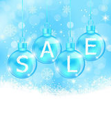 Christmas background with balls lettering sale — Stock Vector