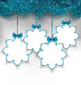 Set Christmas paper snowflakes with copy space for your text — Stock Vector