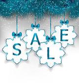 Natale carta fiocchi di neve con scritta vendita — Vettoriale Stock