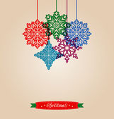 Christmas vintage card with snowflakes  — Stock Vector