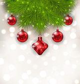 Boże Narodzenie skład z gałązek jodły i czerwonych bombek — Wektor stockowy