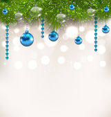 Christmas shimmering background with fir twigs and glass balls — Stock Vector