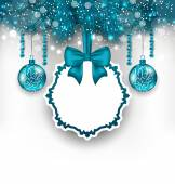 Christmas gift card with glass balls — Stock Vector