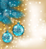 New Year decoration with  hanging balls on fir twigs — Stock vektor