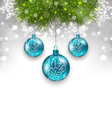 Boże Narodzenie tło z kulki szklane i gałęzie jodły — Wektor stockowy