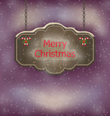 Night background with hanging Merry Christmas wooden board — Stockvektor