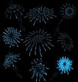 Set different fireworks on dark background — Stock Vector