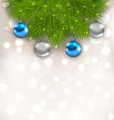 Christmas composition with fir branches and glass balls  — Stock Vector