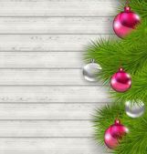 Christmas composition with glass hanging balls and fir twigs — Vector de stock