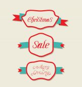 Christmas set variation vintage labels with text — Stock Vector