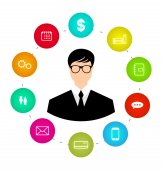 Businessman around icons social media networks and innovation id — Stock vektor