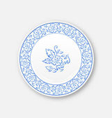 White plate with hand drawn floral ornament bezel  — Vettoriale Stock