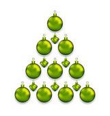 Kerstboom gemaakt van glas ballen, geïsoleerd op witte achtergrond — Stockvector