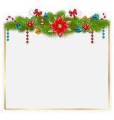 Greeting card with traditional Christmas elements — Vetor de Stock